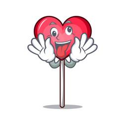 Crazy heart lollipop mascot cartoon vector