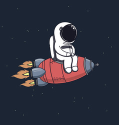 Cute astronaut sits on rocket vector