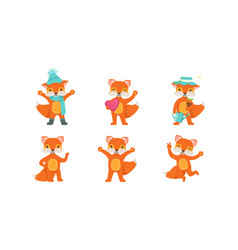 cute fox cartoon character set forest vector image