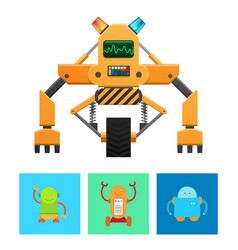 cyborg machine with yellow body banner vector image