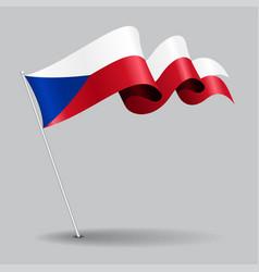 czech pin wavy flag vector image vector image