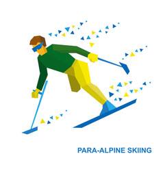 Disabled skier running downhill vector