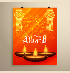 diwali festival flyer design with diya fireworks vector image