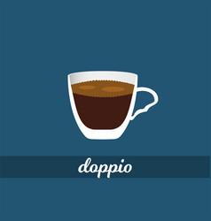 Double espresso or doppio coffee cup vector