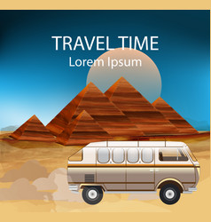 egypt summer travel bus camping trailer vector image
