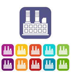 Factory building icons set vector