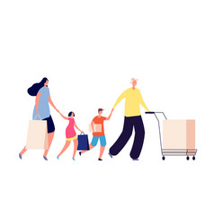 family on shopping beauty people couple with vector image