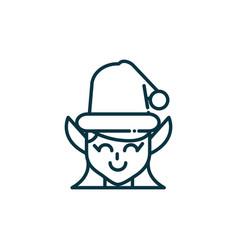 female elf happy christmas line icon vector image