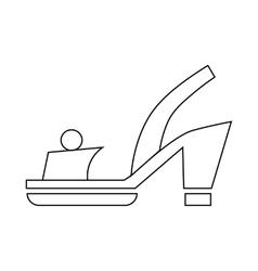 Female red opened shoe icon outline style vector