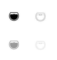 fish in round aquarium black and grey set icon vector image