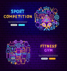 fitness gym banners vector image