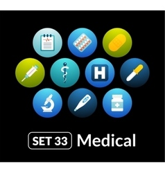 Flat icons set 33 - medical collection vector image