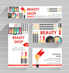 Flat ready design template for makeup artist vector