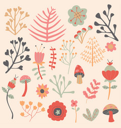 Flowers autumn editable collection set vector