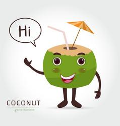 fresh drinking coconut cartoon vector image