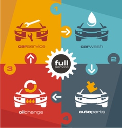 Full car service info graphic vector
