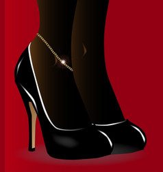 Gold ankle bracelet vector