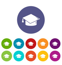 graduation cap icons set color vector image
