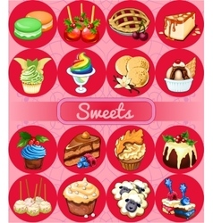Great set of desserts 16 delicious icons vector