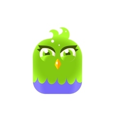 Green Girly Chick Square Icon vector