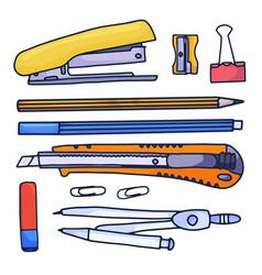 hand drawn cartoon stationery set doodle set vector image