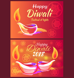 happy diwali 2018 festival of lights banner vector image