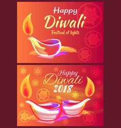 happy diwali 2018 festival of lights banner vector image