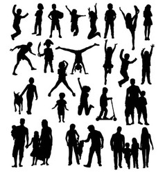 Happy Kid Silhouettes vector image