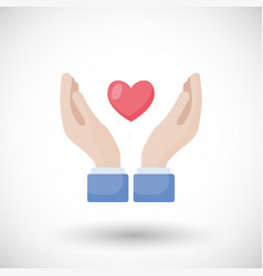 heart in hands flat icon vector image