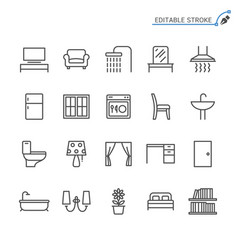 Home furniture line icons editable stroke vector
