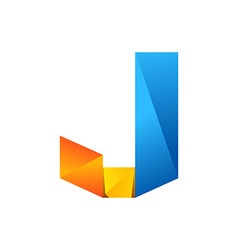 J letter one line colorful logo design template vector