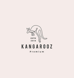 Kangaroo logo icon line outline monoline vector