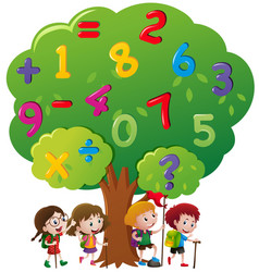 Kids and numbers on the tree vector