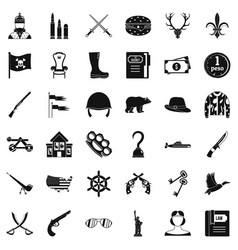 king icons set simple style vector image