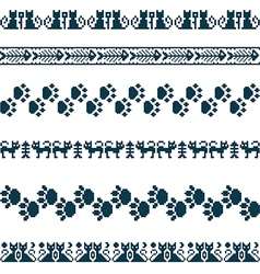 Knitted seamless pattern animals cats borders set vector image