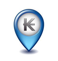 laotian kip symbol on mapping marker icon vector image