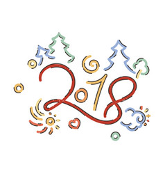 lettering for happy new 2018 year vector image