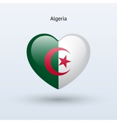 Love algeria symbol heart flag icon vector
