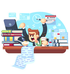 Man overwork in office deadline vector