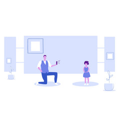 man using smartphone camera father standing on vector image