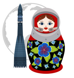 Matryoshka astronaut and rocket vector
