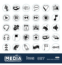 Media and arrows web icons set vector image