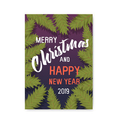 merry christmas 2019 party poster invitation flyer vector image