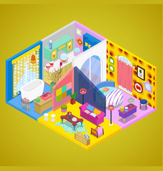 Modern apartment interior design isometric vector