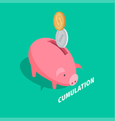 Money accumulation isometric with piggybank vector