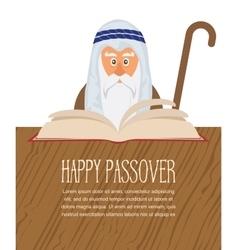 Moses reading Passover Haggadah vector image