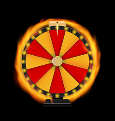 Naturalistic fire wheel of fortune lucky icon vector