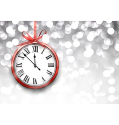 New year clock with defocused background vector