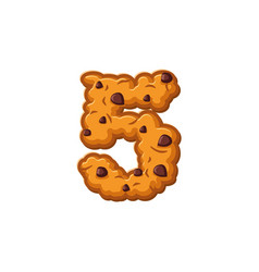 Number 5 cookies font oatmeal biscuit alphabet vector