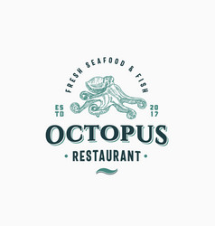 octopus seafood and fish restaurant abstract vector image